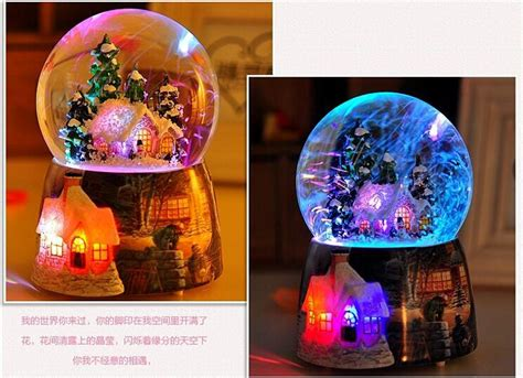 2017 Christmas Crystal Ball Music Box Voice Activated Light Snow Globe Rotating Music Boxes With