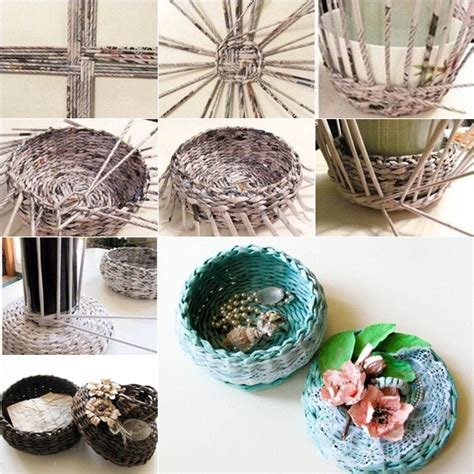 newspaper crafts diy diy covered woven basket from newspaper fab diy