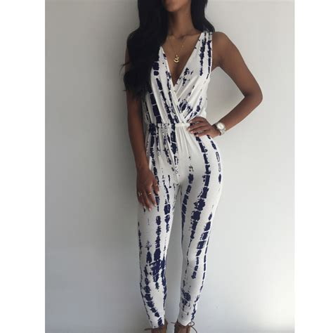 sleeveless pattern jumpsuit autumn style 2015 women sleeveless deep v neck black