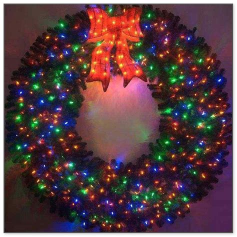 large wreaths lighted