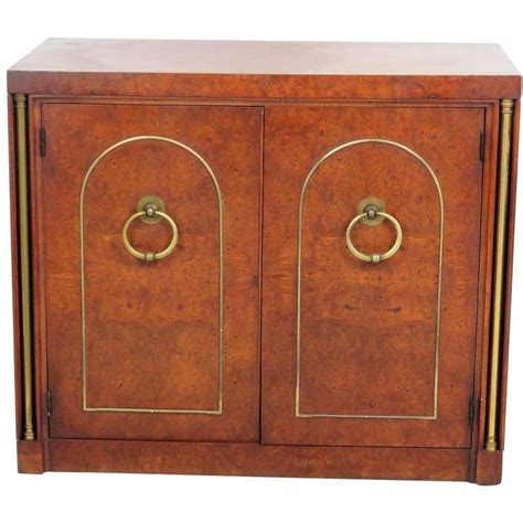 Mastercraft Style Burl Walnut And Brass Two Door Cabinet Mastercraft Cabinet Doors