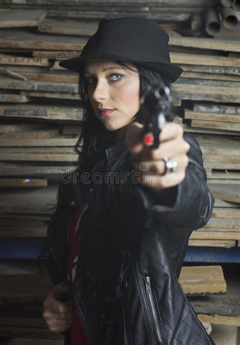 Blue From O2 Less Treacherous Than Black by With Revolver And Leather Jacket Stock Image Image