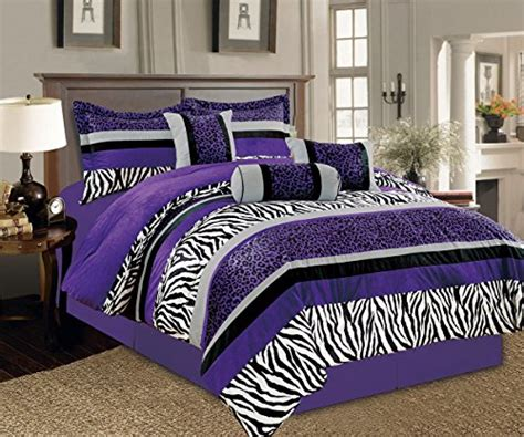 Purple Cheetah Comforter Set by 7 Pc Bright Purple Black White Zebra Leopard Micro Fur