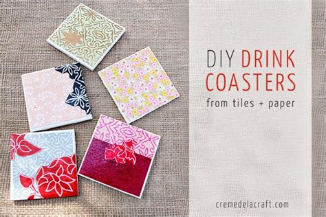 tile craft diy drink coasters from tiles paper