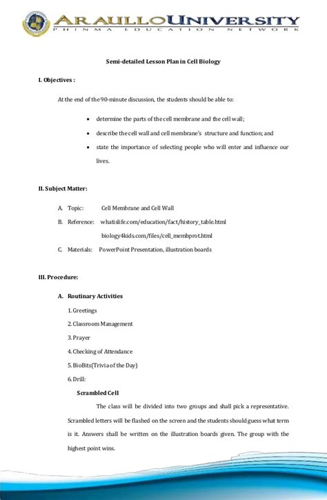 biology lesson plan template cell biology lesson plan
