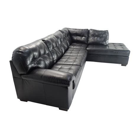 51 bobs furniture black faux leather sectional sofas
