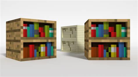 3d minecraft bookshelf by nokohere