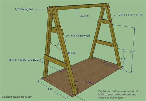 wooden swing frame plans lazy liz on less swing set go