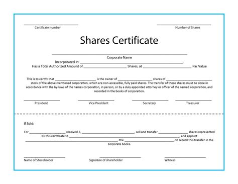 corporate stock certificate template free 41 free stock certificate templates word pdf free