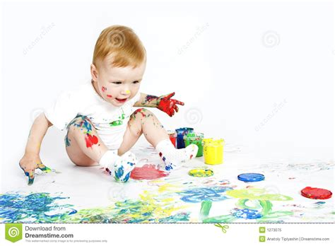 baby painting free baby with paint on white royalty free stock photo