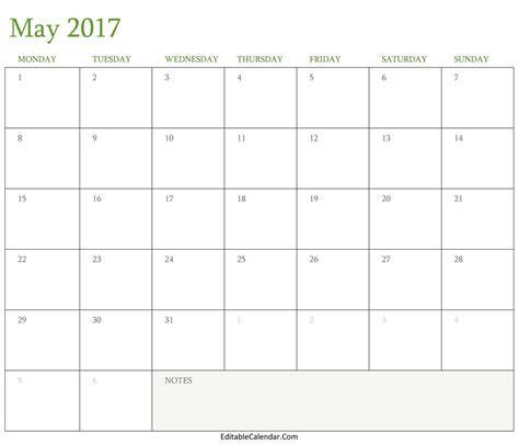 2017 May Calendar Template