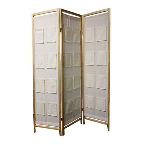 room divider panel 3 panel wooden room divider w pocket holders