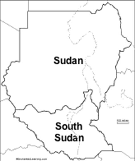 South Sudan Map Outline by S Geography Enchantedlearning