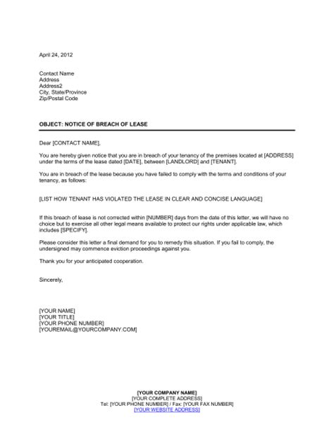 Lease Agreement Breach Of Contract Letter Notice Of Breach Of Lease Template Sle Form Biztree