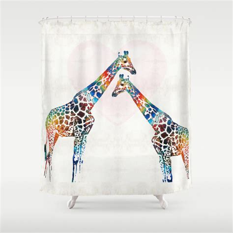 giraffe shower curtains colorful giraffe art i ve got your back by sharon