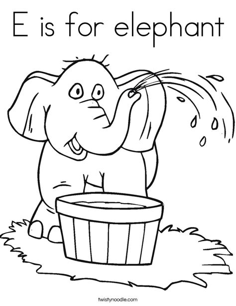 e is for elephant coloring page twisty noodle