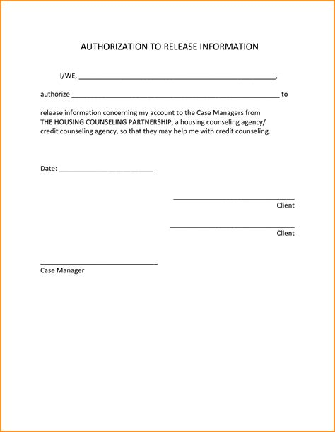 Release Letter To Client Authorization Letter To Release Information Authorization Letter Pdf