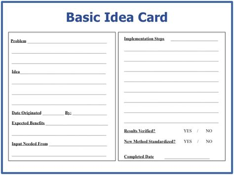 suggestion card template basic idea card standardized card