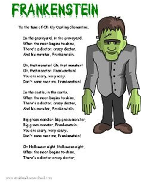 themes in frankenstein worksheet halloween frankenstein poem song printable good for book
