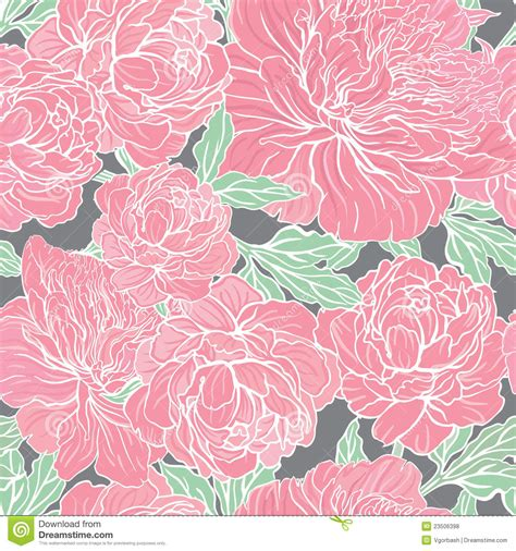 peoni pattern font free seamless vector pattern with peonies stock vector