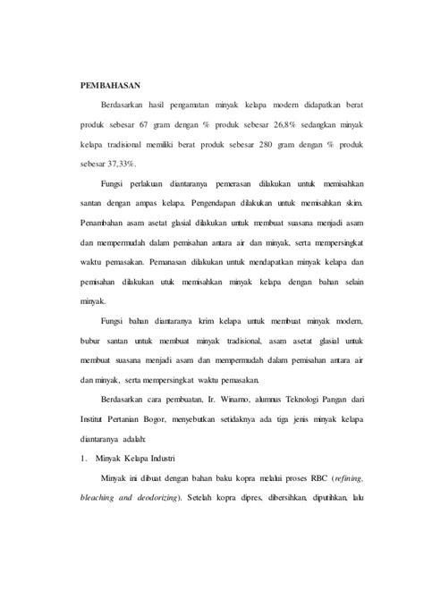 Minyak Kelapa Tradisional laporan praktikum minyak kelapa modern dan tradisional