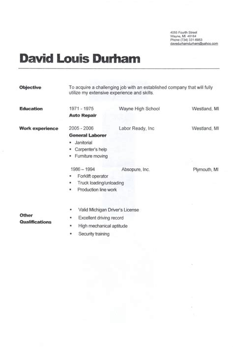 General Labour Description Resume