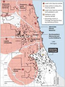 Map Of Chicago Shootings by Map Trauma Centers And Shootings In The Chicago Area