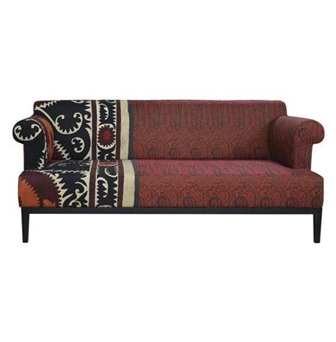 paisley settee vintage suzani red paisley global bazaar sofa kathy kuo home