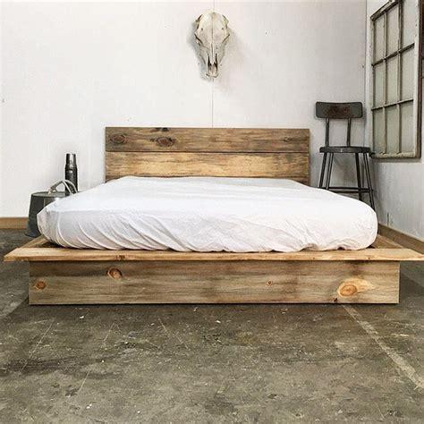 rustic modern platform bed frame  headboard loft style