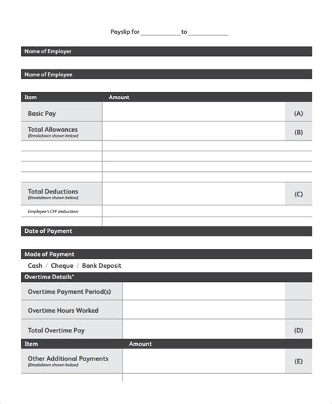 free salary slip template sle payslip templates 8 free documents in
