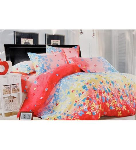 cute bed sheets valtellina blue floral print on peach double bed sheet set
