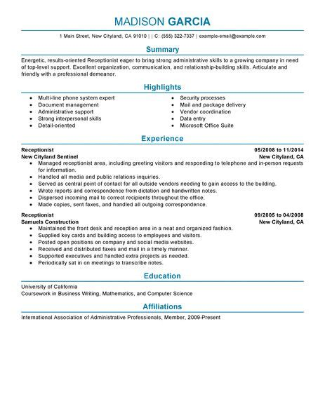 Resume Exle For Receptionist Position Best Receptionist Resume Exle Livecareer
