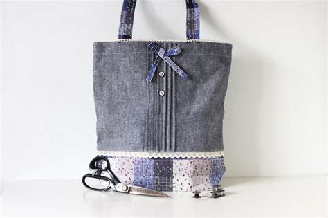 Tote Bag Denim Whoopees 5032 denim blue shabby chic linen tote bags denim