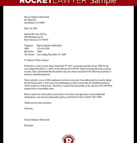 letter to the irs template response to irs penalty letter template with sle