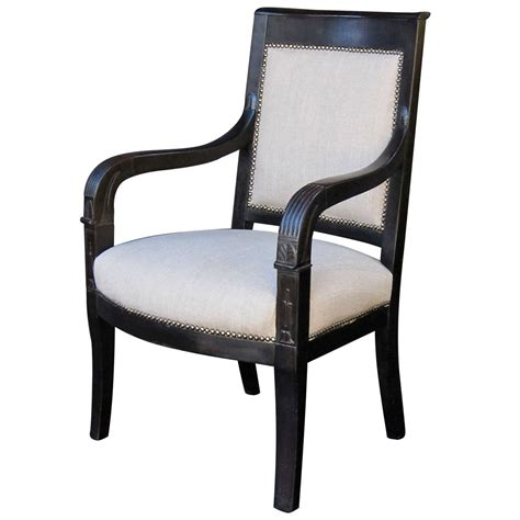 armchairs upholstered french ebonized armchair with upholstered seat at 1stdibs