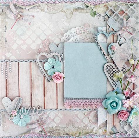 premade 12 x12 shabby chic scrapbook layout blue fern studios prima album wedding