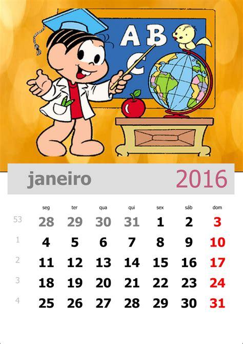 Calendario Por Mes 2016 Calend 225 2016 Da Turma Da M 244 Nica Para Imprimir
