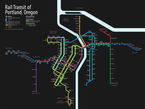 portland light rail map rail transit of portland oregon visual ly