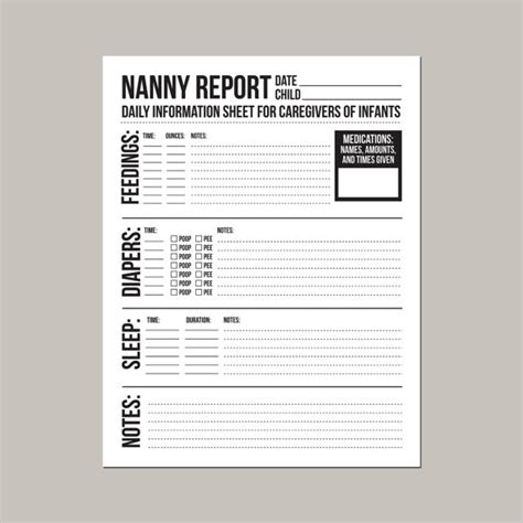 nanny notes template nanny report daily information sheet for caregivers of