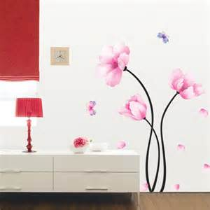 Flower Stickers For Wall wall sticker flower amp floral large pink flower wall stickers