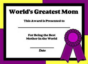 World s greatest mom certificate printable certificate for moms
