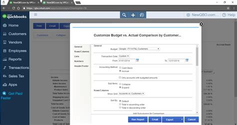 quickbooks tutorial budget how can i run the budget vs actual report for just one