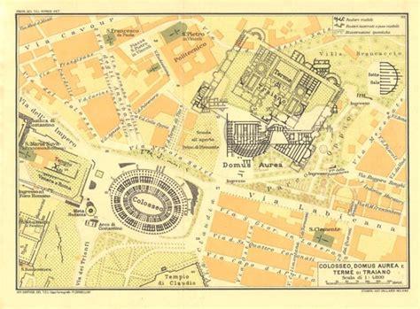 Golden House Layout by 1933 Colosseum Domus Aurea And Bath Of Trajan Vintage Map