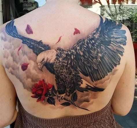 eagle and rose tattoo 25 best ideas about eagle back on
