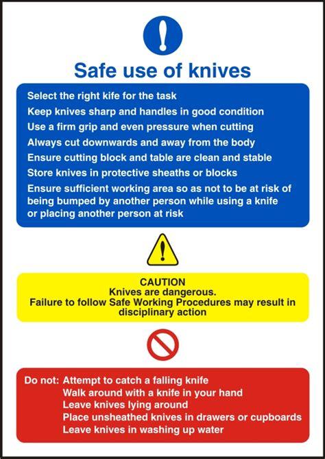 use of knives safe use of knives safety sign safety signs
