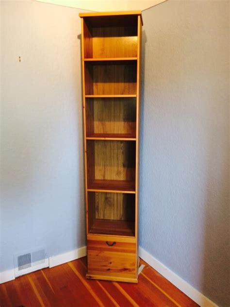 narrow ikea bookshelf with antique stain finish