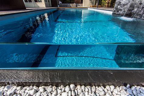 glas pool backyard garden with amazing glass swimming pool