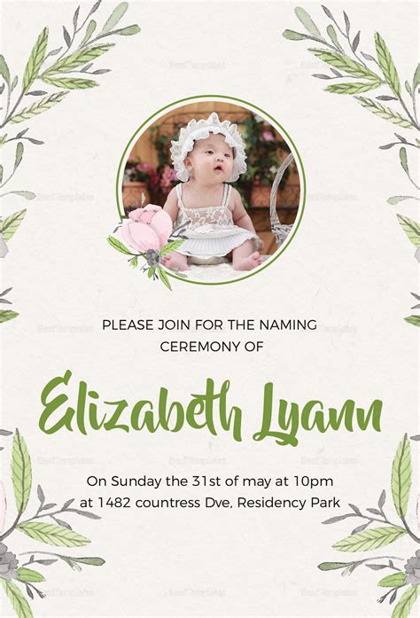 Heartfelt Baby Naming Ceremony Invitation Design Template In Psd Word Publisher Free Invitation Templates For Naming Ceremony