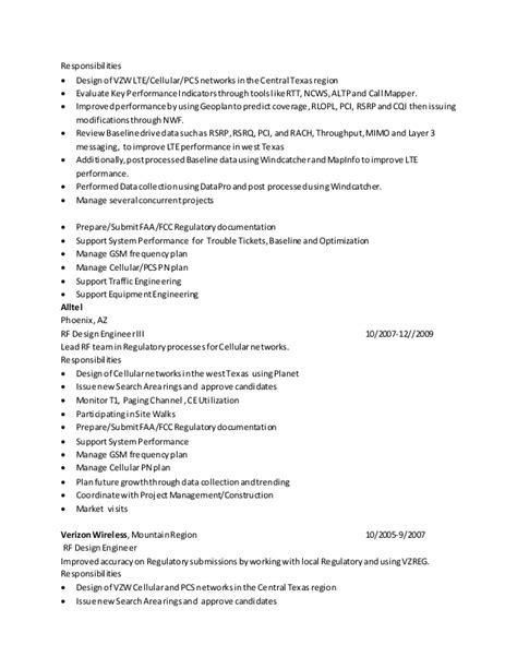 rf engineer resume sle resume rf engineer baseline 02162015