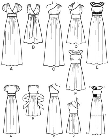 pattern drawing dress simplicity 2692 misses special occasion dresses